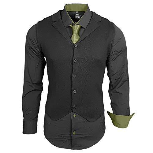 Rusty Neal Herren Hemd Weste Krawatte Set Hemden Business Hochzeit Freizeit Slim Fit, Größe:3XL, Farbe:Schwarz/Khaki