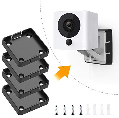 (Pack of 4) Wyze Cam V2 Mount Black, Wall and Ceiling Holder Mounting Bracket for Wyze Camera Indoor Outdoor 1080p HD Cameras, Best Semi-Permanent Solution for Wyze CAM v2 (NOT Including Cameras)