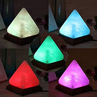 Salt Lamp - Triangle Hand Carved Usb Wooden Base Himalayan Crystal Rock Salt Lamp Air Purifier Night Light - Clock Dawn Energy Adults Galaxy Himalayan Sound Humidifier Frames Switch Japanese Very