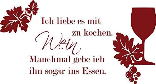 GRAZDesign Wandsticker Küche Spruch über Wein - Küche Aufkleber Weinglas - Wandtattoo Küche Lustiger Spruch / 56x30cm / 030 dunkelrot