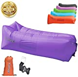 UPGRADED 2020 Giant Inflatable Lounger Chair Hangout Sofa with 10 useful accessories in 8 Fun Colors! Waterproof Inflatable Couch Bed for Indoor, Outdoor, Pool, Beach, Camping and More! (Orange)