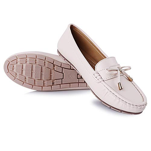 [Leetaker] レディースモカシン バレエシューズ ラウンドヘッドシューズ ナースシューズ 学生靴 レディース安全靴 通勤 通学 冠婚葬祭 デート 長時間立ち 看護師 履きやすい 疲れにくい ドライビングシューズ (ベージュ1, measuremen