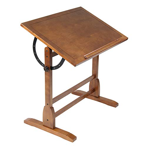 Studio Designs Vintage Wood Drafting Table with 36' x 24' Adjustable Top in Rustic Oak