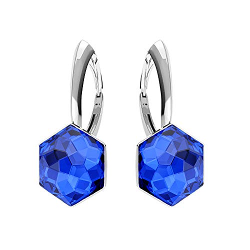 Beforya Paris** – Orecchini in argento 925 – Hexagon – molti colori – orecchini con cristalli Swarovski – bellissimi orecchini da donna – meravigliosi orecchini con portagioie PIN/75