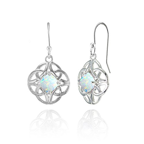Sterling Silver Simulated White Opal 5x5mm Cushion-Cut Celtic Open Knot Dangle Earrings