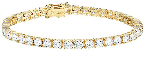 Amazon Essentials Yellow Gold Plated Sterling Silver Round Cut Cubic Zirconia Tennis Bracelet (4mm), 7'