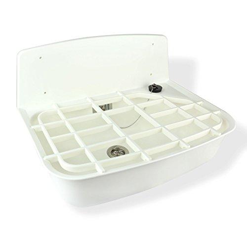 Ausgussbecken 14 Liter inkl. Ab- und Überlauf, Siphon, Ablagerost uvm. (Weiß)