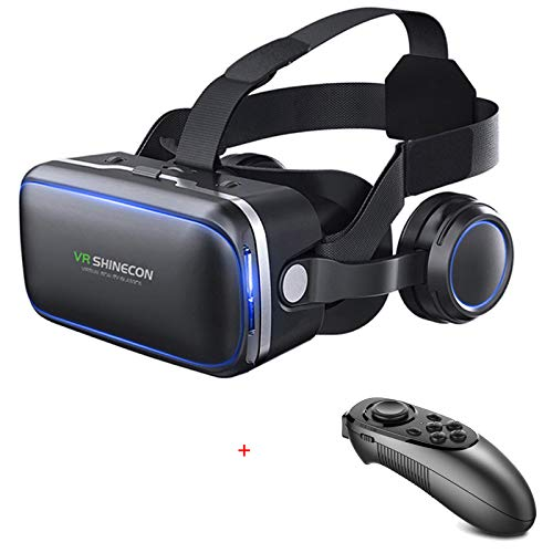 VR SHINECON-Virtual Reality VR Headset 3D Glasses Headset Helmets VR Goggles for TV, Movies & Video Games Compatible iOS, Android &Support 4.7-6.53 inch (with Controller SC-052)