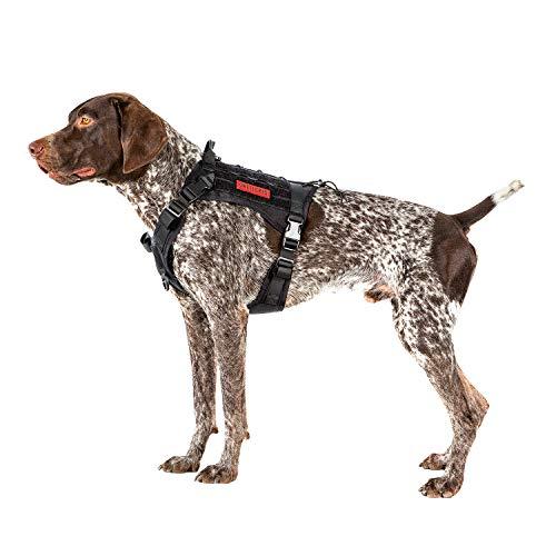 OneTigris Taktische Hundeweste Service Hundegeschirr MOLLE Hundeausbildung Geschirr 1000D Nylon (M, Schwarz)