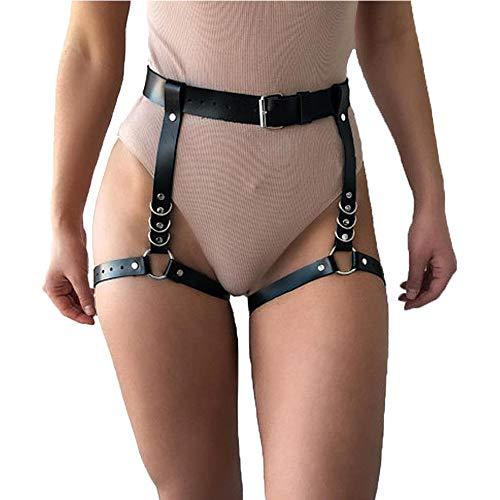 LUOSFUH Frauen Punk PU Leder Taille Bein Caged Harness Gothic Strumpfband