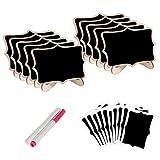 Healifty Mini pizarra vintage de madera con soporte, rotuladores, tarjetas de lugar, decoración de boda, 22 unidades (negro)