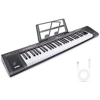 Teclado Musical Teclado de Piano Digital Teclado Electrónico Digital Piano Portátil con 61 teclas, Soporte de Música, 200 Tonos, 200 ritmos, 60 Demos para Principiantes