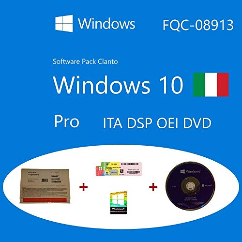 Microsoft Windows 10 Pro OEM FQC-08913 Italiano DSP OEI OEM DVD + COA olografico pack