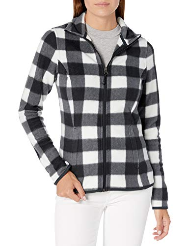 Amazon Essentials Women's Classic Fit Long-Sleeve Full-Zip Polar Soft Fleece Jacket, White Black Buffalo Plaid, Large