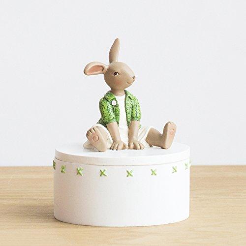 MERRYHE Lapin Statues Résine Sculpture Bureau Décoration Creative Mignon Mini Vert pour Salle De Livre Chambre Bureau Salon Options Multiples,Q