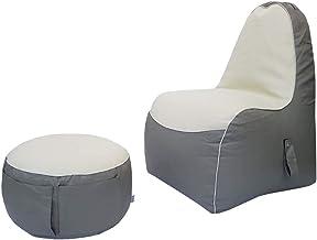 كرسي بين باج لألعاب الأطفال من ريلاكسيت مع مسند للقدم - رمادي/أبيض