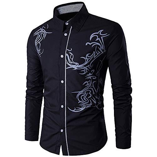 Men's Dress Shirt, Auwer-Mens Long Sleeve Fashion Luxury Design Slim Fit Print Dress Shirt (XL, Black)