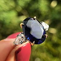4プロングオーバル10 * 14ハイカーボンダイヤモンドリング10カラット-青い_No.9