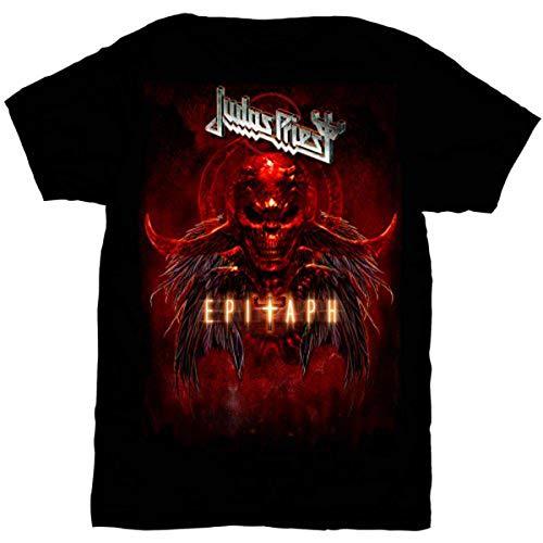 Judas Priest Herren Epitaph Red Horns T-Shirt, Schwarz (Black), (Herstellergröße: Large)