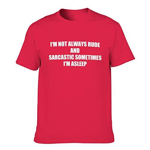 """Harberry Camisetas de algodón para hombre con texto en inglés """"Not Always Rude Sometimes Asleep"""""""