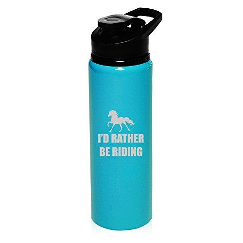 MIP 25 oz Aluminum Sports Water Travel Bottle I'd Rather Be Riding Horse (Light-Blue)
