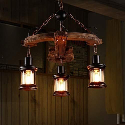IBalody 3-Licht Distressed Massivholz Kronleuchter Bauernhaus Küche Pendelleuchte Antik E27 Edison Suspension Petroleumlampe Weinkeller Restaurant Droplight Bar Decke hängende Beleuchtung