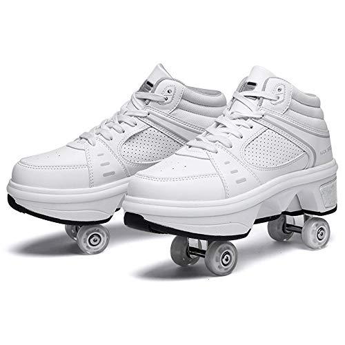 LVLUOKJ Patines Blancos para Hombres y Mujeres, Cuatro Patines para niños, Zapatos para Adultos, Zapatos Deportivos para patinetas técnicas al Aire Libre