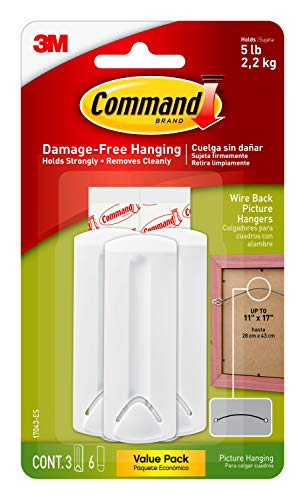 Command Wire-Back Picture Hangers, Indoor Use, 3-Hangers, 6-Strips, Decorate Damage-Free