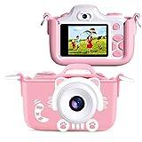FISHOAKY Macchina Fotografica Bambini, Fotocamera Digitale Bambini, Kids Camera Selfie Videocamera 2 Pollici LCD / HD 12MP / Zoom Digitale 4X / Dual Lens / Flash LED / 256MB TF Scheda (Rosa)