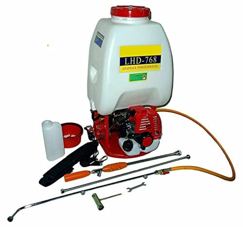 SVE Mochila de sulfatar de Gasolina Motor de 26cc 26 litros 11 kg Caudal de 7 l/MN Sulfatadora pulverizadora huerto jardín 3 lanzas