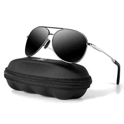 MXNXEU Sonnenbrille Herren Pilotenbrille Polarisiert Pilotenbrille Polarisierte Sonnenbrille Herren Outdoor Pilot Unisex UV400 Fahren Sonnenbrille-Schwarze/Silber
