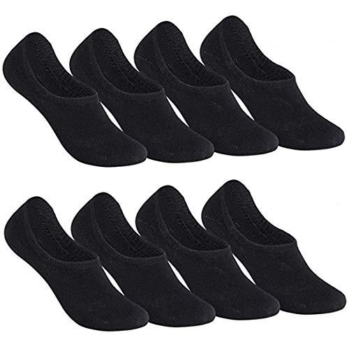 Falechay Sneaker Socken Damen Herren Füßlinge Footies 8 Paar Kurze Großes Silikonpad Verhindert Verrutschen Unsichtbare 8xschwarz 39-42