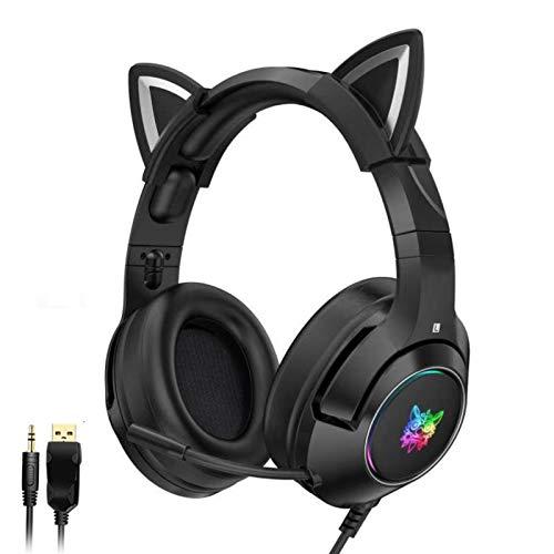 QUANXI Headset Gamer com fio K9 com microfone, Fone de ouvido com microfone Unidade de alto-falante grande de 50 mm, graves surround estéreo 4D,fones de ouvido com cancelamento de ruído para jogos