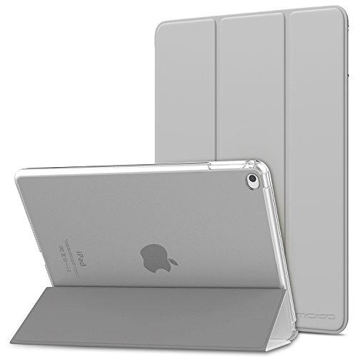 MoKo Hülle für Apple iPad Air 2 - PU Leder Tasche Schale Smart Hülle mit Translucent Rücken Deckel, mit Auto Schlaf/Wach Funktion & Standfunktion für iPad Air 2 9.7 Inch Tablet, Silber