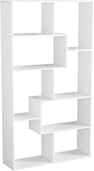 BS Open Shelf Bookcase Stylish White Freestanding Cube Shelving Unit With Asymmetrical Shelves Home Office Additional Storage Furniture Contemporary Room Divider EBook By BADA Shop
