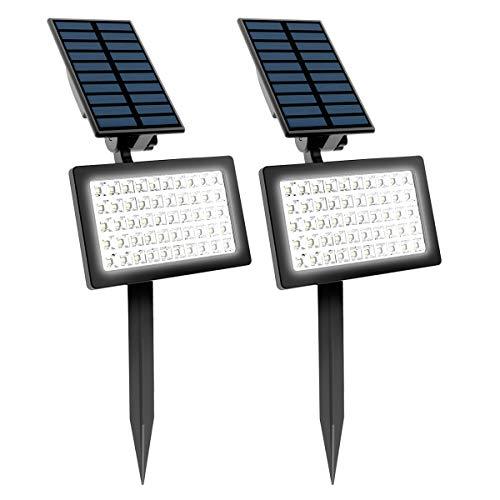 (2 Pezzi)T-SUN Luci Solari da Esterno, Wireless Lampada Solare da Giardin, 2 Modalità Funzione, 6000K, Impermeabile Lampada Solare da Sicurezza per Giardino, Sentiero, Prato, Cortile, ecc.