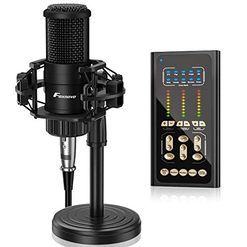 Podcast Microphone Sound Mixer Kit: FOXNOVO USB Sound Card for Studio Microphone Bundle with Stand, 9 Scene Modes and 9 Sound Effects for Gaming|Podcasting|Recording Music, Phone, Computer, Wireless