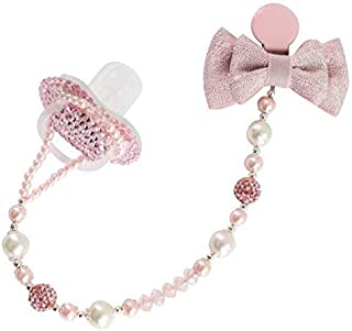 Original Design Baby Pacifier +Pacifier Clip Set, Handmade Custom Pink Rhinestones Crystal Burlap Bowknot Soother Chains