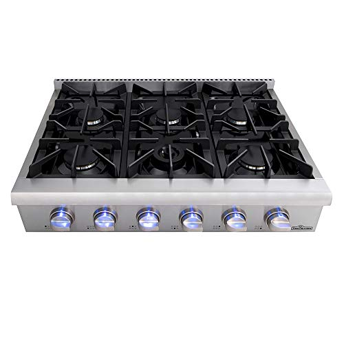 Thor Kitchen Pro-Style Gas Rangetop with 6 Sealed Burners 36 - Inch, Stainless Steel HRT3618U