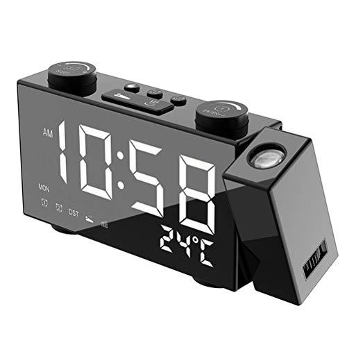 LBPF Projektion Wecker Radio Für Schlafzimmer, Digtal LED Display Projektor Deckenuhr, 6,0 Zoll 180 ° Drehbar USB-Ladegerät Dual Alarme Batterie,Weiß