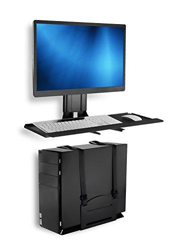 Montaje ¡Soporte de pared para monitor y teclado con soporte para CPU, bandeja de teclado VESA de altura ajustable, plataforma amplia de 25 pulgadas con alfombrilla de ratón (MI-7919)