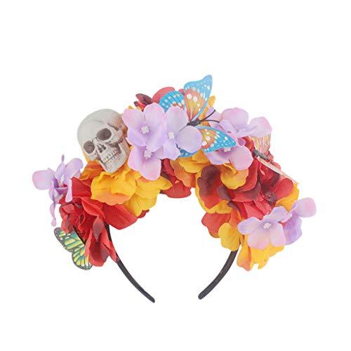 CANDLLY Halloween Cosplay Girlande Schädel Einstellbare Stirnband Halloween Kopfschmuck Cute Flower Prom Zubehör Party