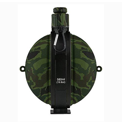 klappbar Military Wasser Flasche 19.8oz/580ml, BPA-Frei Silikon Wasser Wasserkocher Wasser Kantine mit Kompass, Camouflage Flasche für Wandern Camping Outdoor, grün Camo