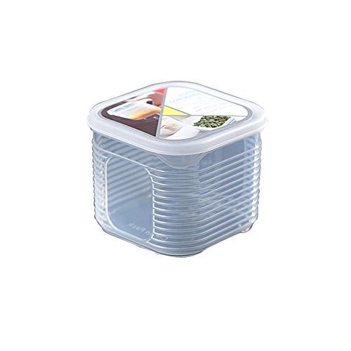 YUMEIGE Caja de almacenamiento de cosméticos Caja de mantenimiento de fresco a rayas, cocina de refrigerador Cocina verde ajo ajo Compartimento complementario Compartimento de plástico Caja hermética,