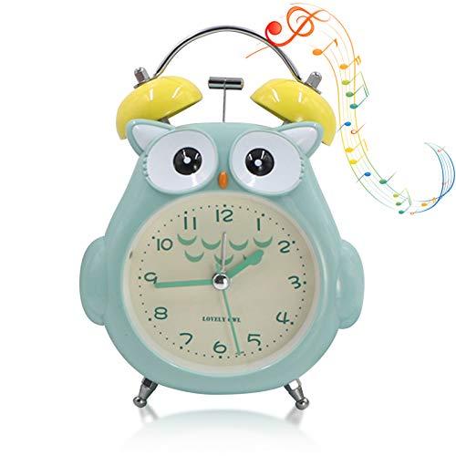 per camera da letto Sveglia per bambini senza ticchettio funzione snooze orologio con luce notturna funzionamento a batteria con luce gialla soffusa e suono potente