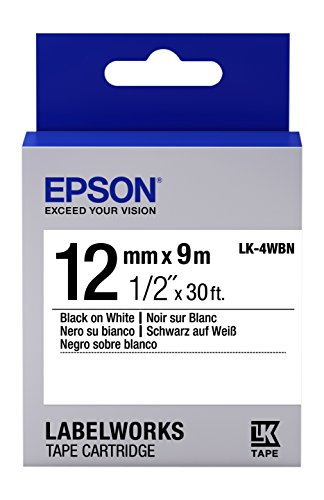 "Epson LabelWorks Standard LK (Replaces LC) Tape Cartridge ~1/2"" Black on White (LK-4WBN) - for use with LabelWorks LW-300, LW-400, LW-600P and LW-700 Label Printers"