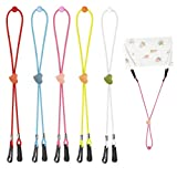 5 PCS Mask Lanyards Adjustable Length for Kids, Release Ear Pressure Mask Extenders with C...