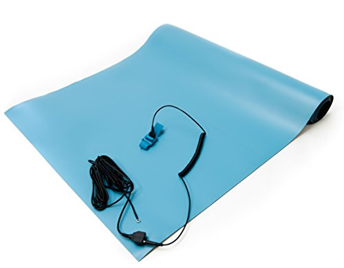 Bertech ESD High Temperature Mat Kit, 18 Inches Wide x 30 Inches Long x 0.08 Inches Thick, Blue, Includes a Wrist Strap and Grounding Cord, RoHS and REACH Compliant (Assembled in USA)