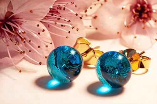 Pendientes de turquesa en cristal de Murano, Pireta Creations, baño de oro 18k, hipoalergénicos, hechos a mano, Made in Italy, pendiente de botón, regalo perfecto para ella.