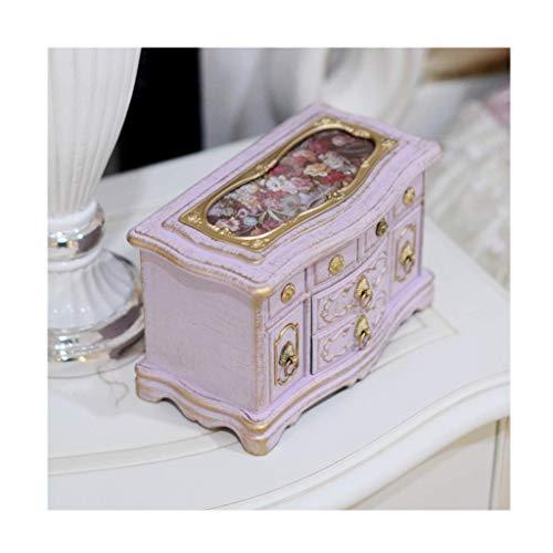 WYZQ Cajas de música Caja de música Antigua Vintage, Caja de joyería de Bailarina Musical Creativa, Caja de baratija Rectangular, Decoración de habitación y Regalos de artesanía de cumpleaños CAJ